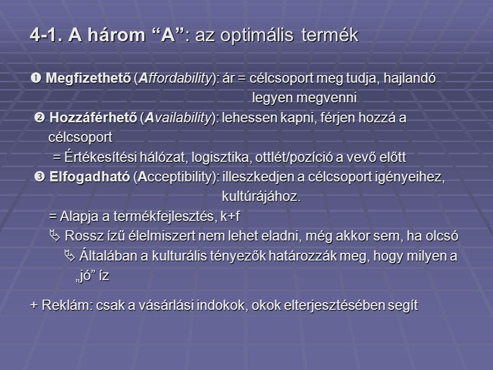 """4-1. A három """"A"""": az optimális termék  Megfizethető (Affordability): ár = célcsoport meg tudja, hajlandó legyen megvenni legyen megvenni  Hozzáférhe"""