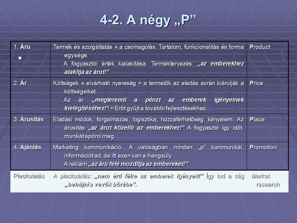 """4-2. A négy """"P""""  1. Áru Termék és szolgáltatás + a csomagolás. Tartalom, funkcionalitás és forma egysége. A fogyasztói érték kialakítása. Termékterve"""