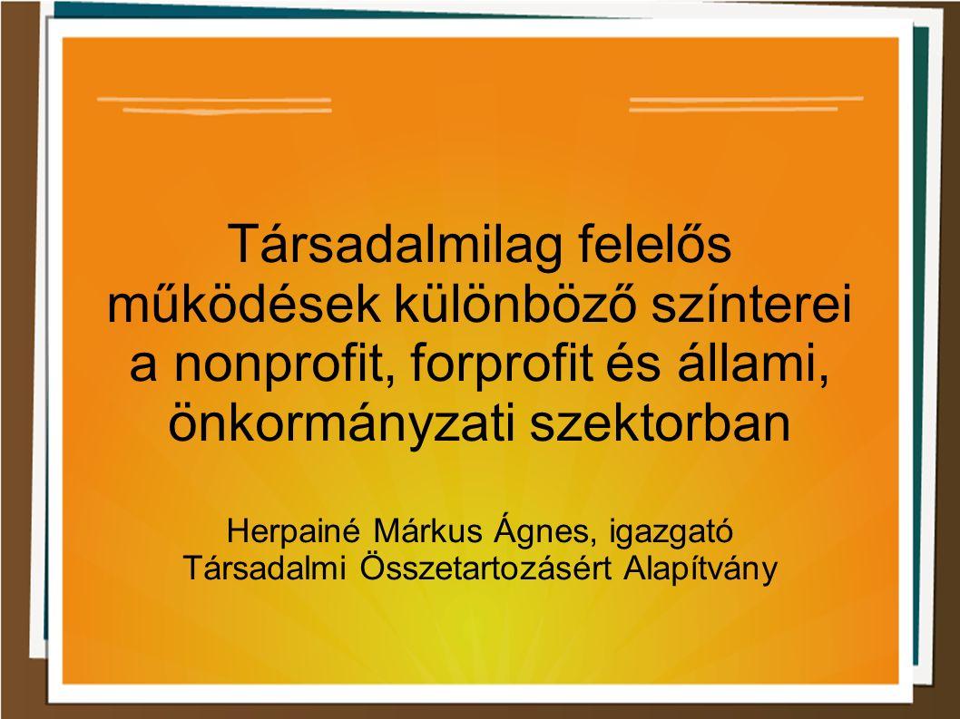 Társadalmilag felelős működések különböző színterei a nonprofit, forprofit és állami, önkormányzati szektorban Herpainé Márkus Ágnes, igazgató Társadalmi Összetartozásért Alapítvány