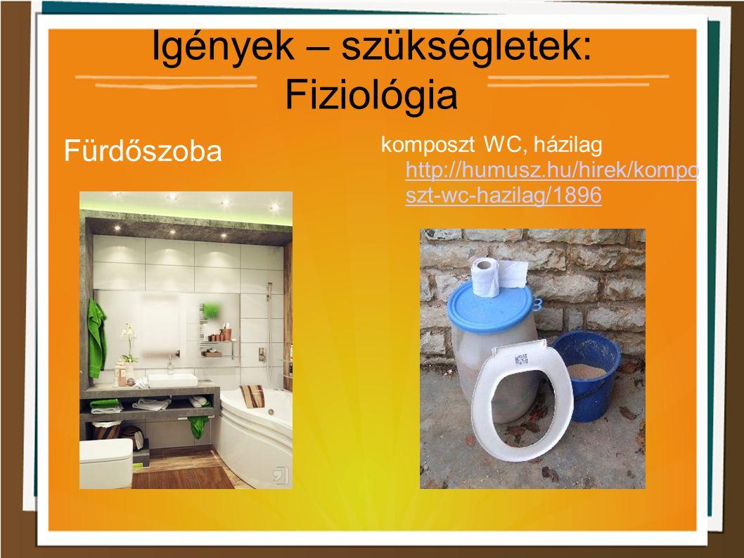 Igények – szükségletek: Fiziológia Fürdőszoba komposzt WC, házilag http://humusz.hu/hirek/kompo szt-wc-hazilag/1896 http://humusz.hu/hirek/kompo szt-wc-hazilag/1896