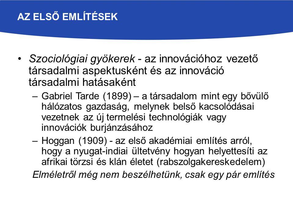 AZ ELSŐ EMLÍTÉSEK Szociológiai gyökerek - az innovációhoz vezető társadalmi aspektusként és az innováció társadalmi hatásaként –Gabriel Tarde (1899) –
