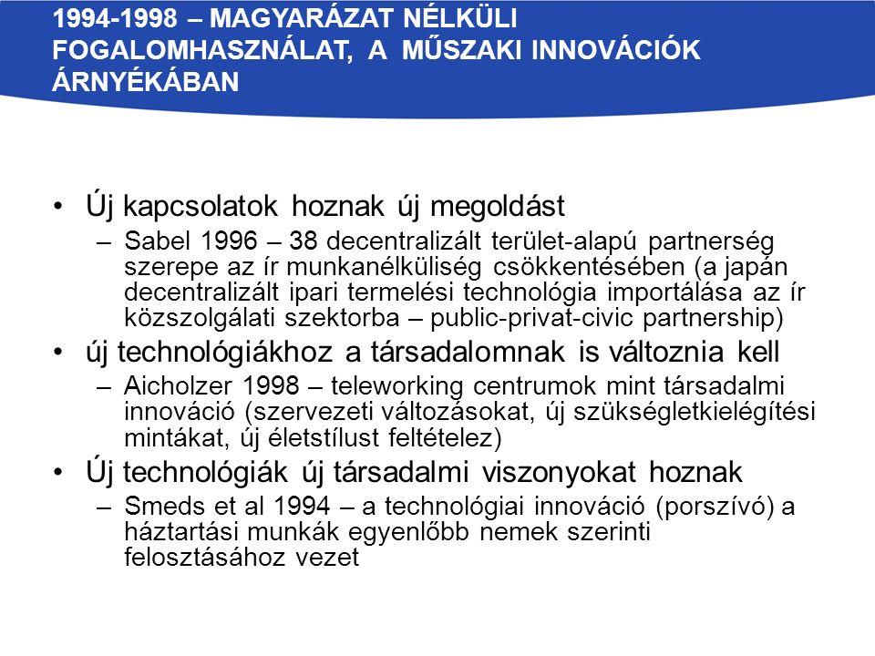 """1999-2003 – AZ ELMÉLETTÉ VÁLÁS ELSŐ JELEI Társadalmi innovációs tőke –McElroy 2002 – """"a cég kollektív képessége a megújulásra A társadalmi interakciók szükségesek az új ötletekhez –Waddel 1999 – különböző csoportok együttmunkálkodása új ötletek generálása érdekében –Mumford 2002 – új ötletek generálása és megvalósítása arra, hogy az emberek hogyan tudnák közös tevékenységeiket vagy társadalmi interakcióikat egy vagy több közös cél elérése érdekében szervezni –Hazel – Onaga 2003 – szorosan együttműködni a társadalmi problémák megoldásának keresésében azokkal, akiket ezek a problémák leginkább érintenek a technológiai innováció nem történhet a társadalom megújulása nélkül - Introna et al 1999"""