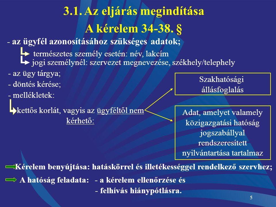 5 - az ügyfél azonosításához szükséges adatok; természetes személy esetén: név, lakcím jogi személynél: szervezet megnevezése, székhely/telephely - az ügy tárgya; - döntés kérése; - mellékletek: kettős korlát, vagyis az ügyféltől nem kérhető: Szakhatósági állásfoglalás Adat, amelyet valamely közigazgatási hatóság jogszabállyal rendszeresített nyilvántartása tartalmaz Kérelem benyújtása: hatáskörrel és illetékességgel rendelkező szervhez; A hatóság feladata:- a kérelem ellenőrzése és - felhívás hiánypótlásra.