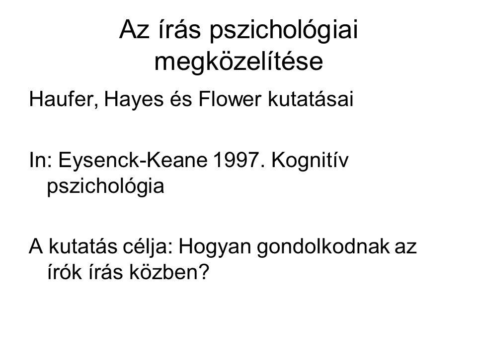 Az írás pszichológiai megközelítése Haufer, Hayes és Flower kutatásai In: Eysenck-Keane 1997.