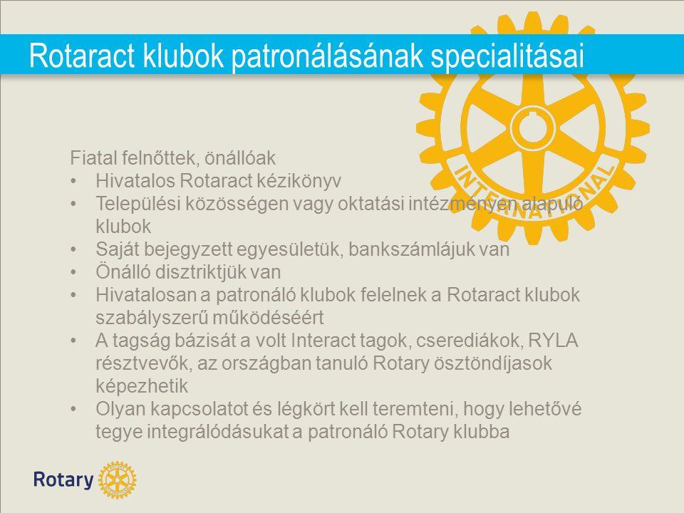 Rotaract klubok patronálásának specialitásai Fiatal felnőttek, önállóak Hivatalos Rotaract kézikönyv Települési közösségen vagy oktatási intézményen alapuló klubok Saját bejegyzett egyesületük, bankszámlájuk van Önálló disztriktjük van Hivatalosan a patronáló klubok felelnek a Rotaract klubok szabályszerű működéséért A tagság bázisát a volt Interact tagok, cserediákok, RYLA résztvevők, az országban tanuló Rotary ösztöndíjasok képezhetik Olyan kapcsolatot és légkört kell teremteni, hogy lehetővé tegye integrálódásukat a patronáló Rotary klubba