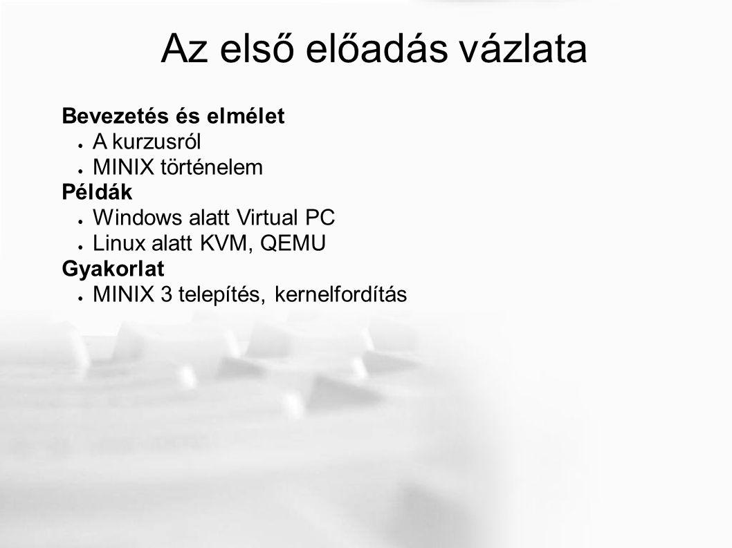 MINIX 3 telepítése Windows alatt Lemezek, baj nem lehet, hiszen ez a két gigás lemezt mi csináltuk az imént, tudjuk, hogy ez a hoszt oprendszerünkben csak egy egyszerű fájl.