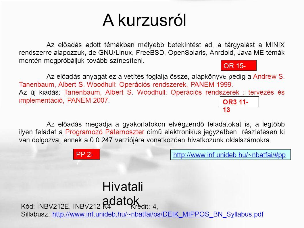 A tankönyvről (1999-es kiadás) 1.DEENK NAGYK 2.em.
