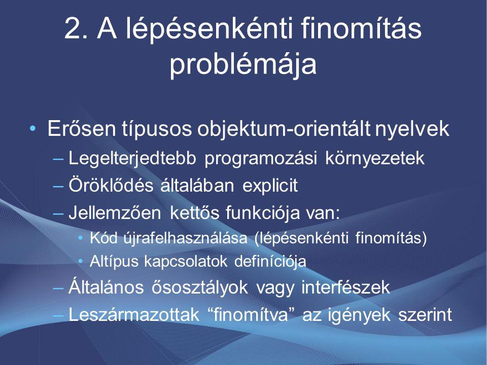 2. A lépésenkénti finomítás problémája Erősen típusos objektum-orientált nyelvek –Legelterjedtebb programozási környezetek –Öröklődés általában explic
