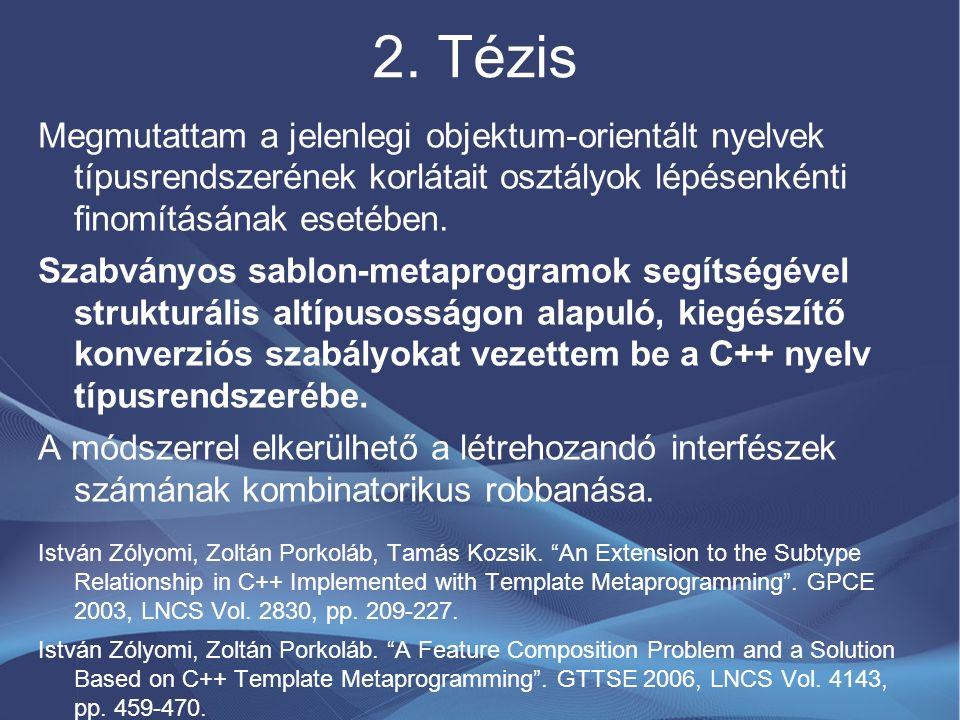 2. Tézis Megmutattam a jelenlegi objektum-orientált nyelvek típusrendszerének korlátait osztályok lépésenkénti finomításának esetében. Szabványos sabl