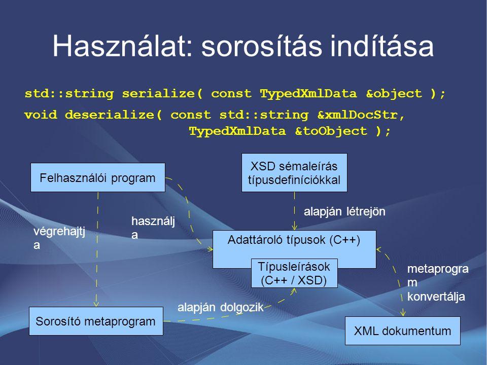 Használat: sorosítás indítása std::string serialize( const TypedXmlData &object ); void deserialize( const std::string &xmlDocStr, TypedXmlData &toObj