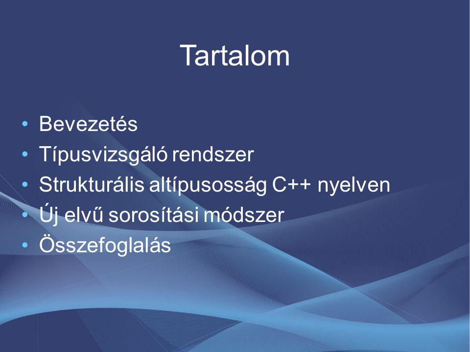 Tartalom Bevezetés Típusvizsgáló rendszer Strukturális altípusosság C++ nyelven Új elvű sorosítási módszer Összefoglalás