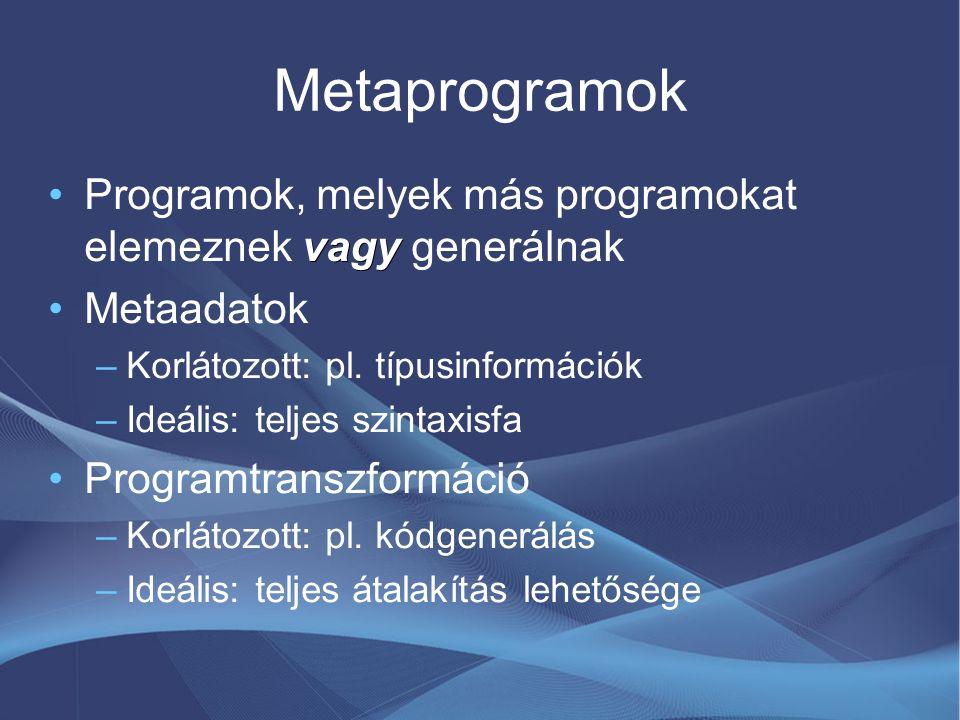 C++ sablon-metaprogramozás Sablonok: generikus programozás támogatása (típus- és adatparaméterek, specializációk) Véletlenül Turing-teljes –Elágazás, rekurzió kifejezhető Fordítás közben végrehajtott funkcionális nyelv Előnye: szabványos, elterjedt Hátránya: közvetett metaprogramozási eszköz (bonyolultság, karbantarthatóság, stb)