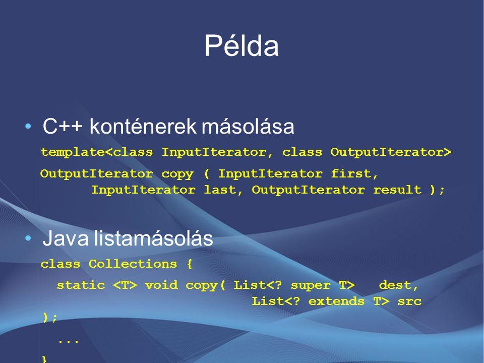 Példa C++ konténerek másolása template OutputIterator copy ( InputIterator first, InputIterator last, OutputIterator result ); Java listamásolás class