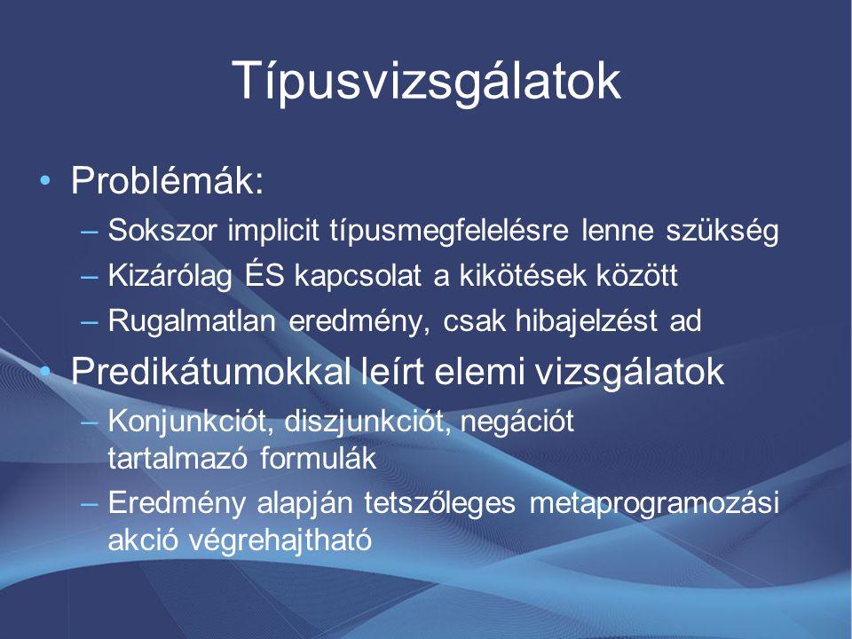 Használat: típusok generálása struct Appointment: public TypedXmlData { const MetaType& MetaInfo() const; Appointment(); DateTime StartDate; Nullable EndDate; String Text; };