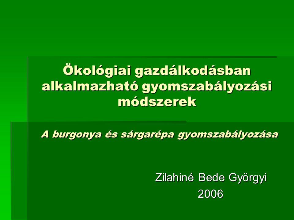 Ökológiai gazdálkodásban alkalmazható gyomszabályozási módszerek A burgonya és sárgarépa gyomszabályozása Zilahiné Bede Györgyi 2006