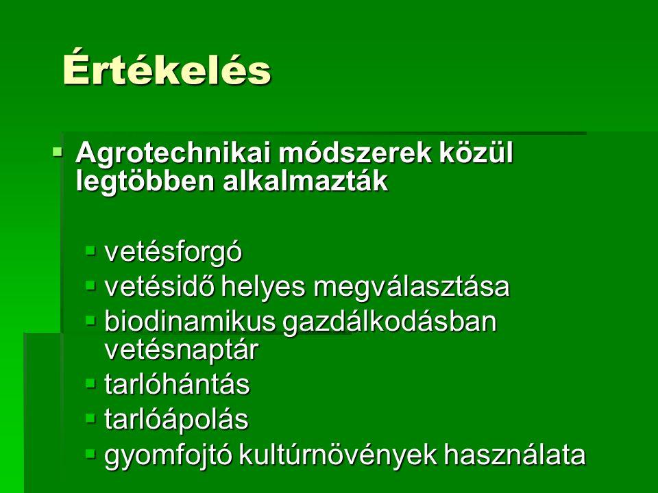 Értékelés  Agrotechnikai módszerek közül legtöbben alkalmazták  vetésforgó  vetésidő helyes megválasztása  biodinamikus gazdálkodásban vetésnaptár  tarlóhántás  tarlóápolás  gyomfojtó kultúrnövények használata
