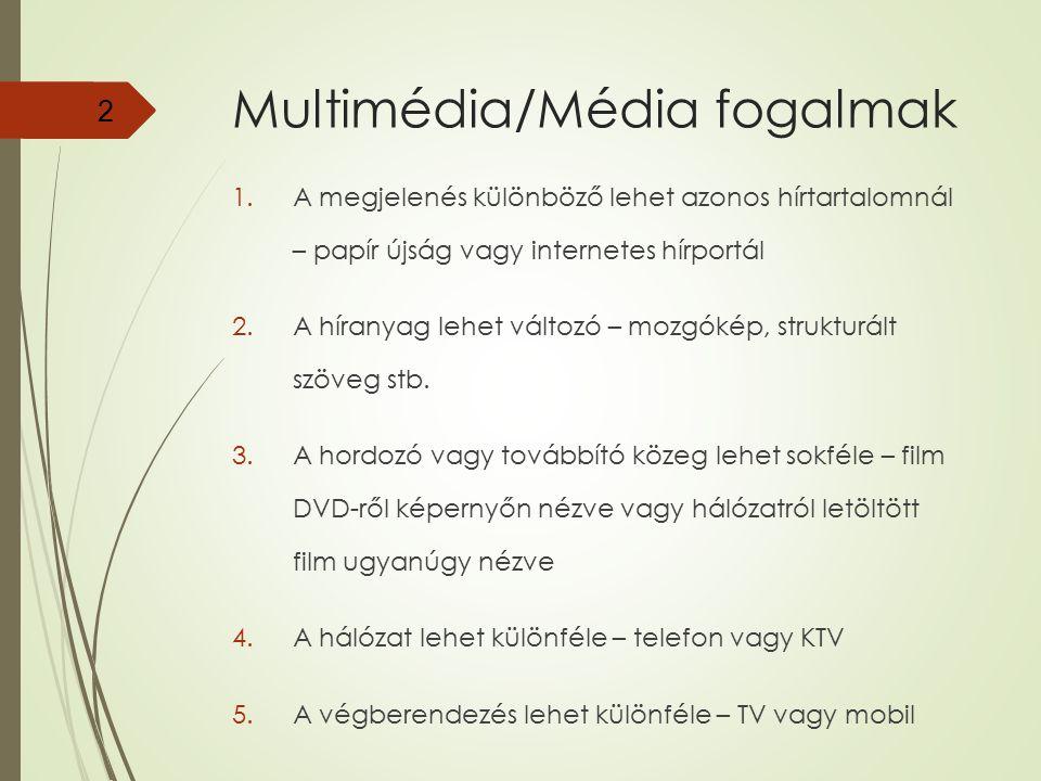 2 Multimédia/Média fogalmak 1.A megjelenés különböző lehet azonos hírtartalomnál – papír újság vagy internetes hírportál 2.A híranyag lehet változó –