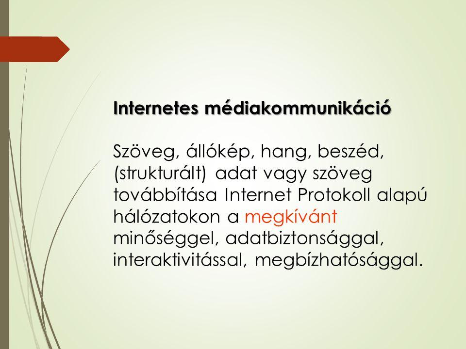 Internetes médiakommunikáció Szöveg, állókép, hang, beszéd, (strukturált) adat vagy szöveg továbbítása Internet Protokoll alapú hálózatokon a megkíván