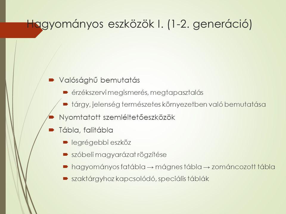Hagyományos eszközök I. (1-2. generáció)  Valósághű bemutatás  érzékszervi megismerés, megtapasztalás  tárgy, jelenség természetes környezetben val