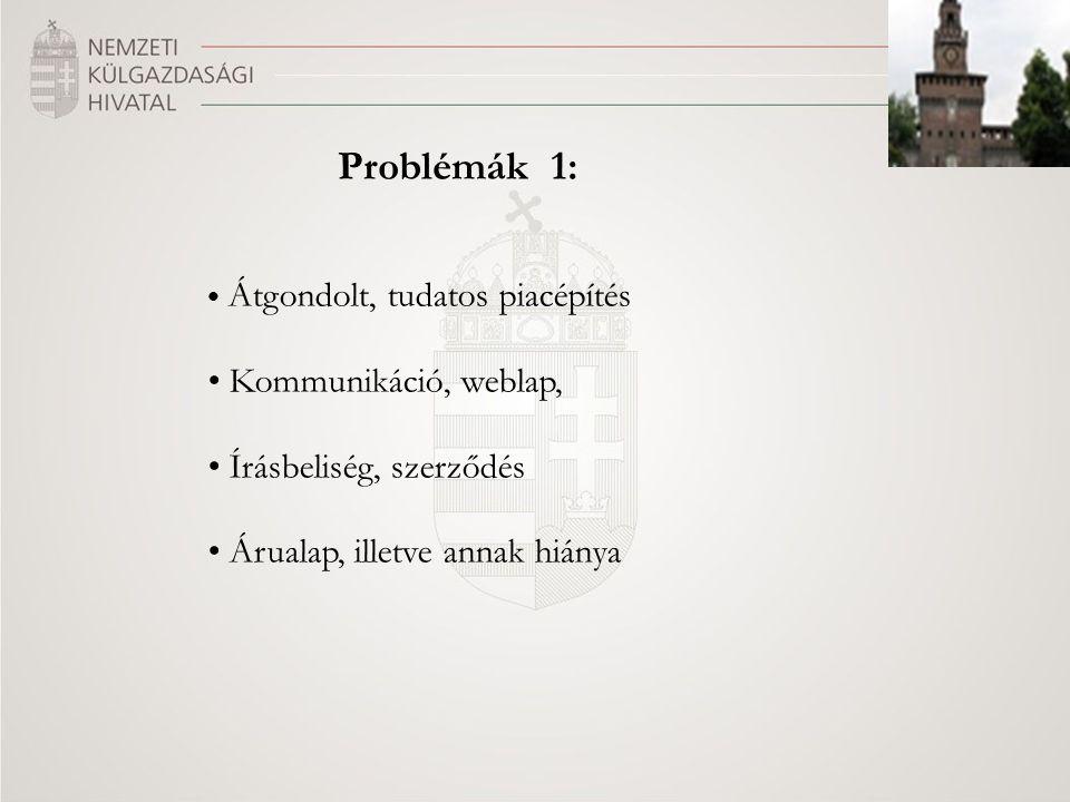 Problémák 1: Átgondolt, tudatos piacépítés Kommunikáció, weblap, Írásbeliség, szerződés Árualap, illetve annak hiánya