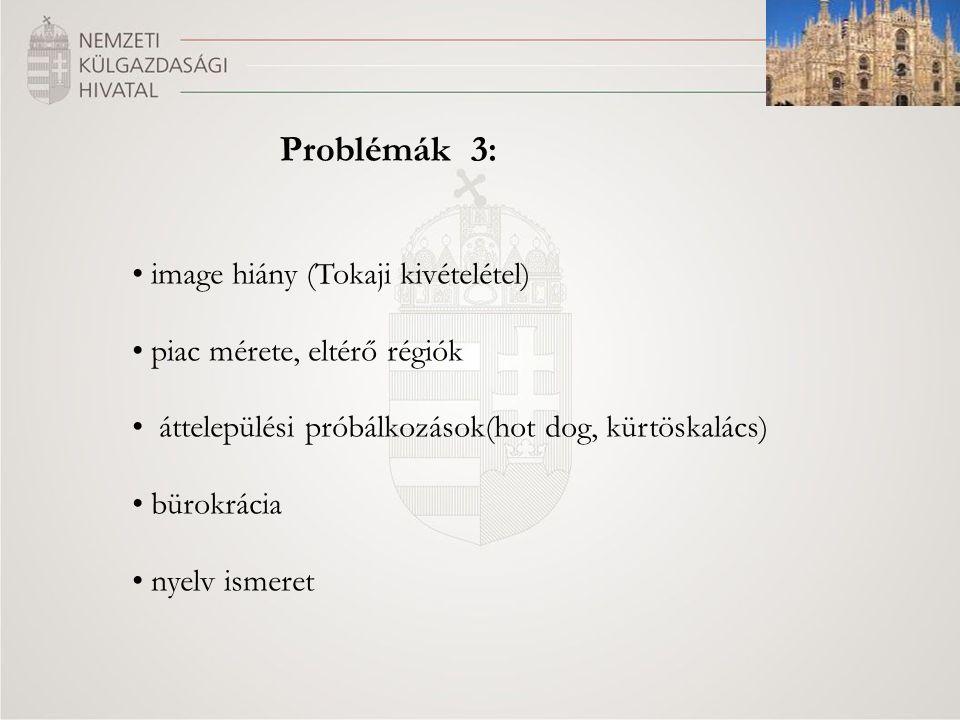 Problémák 3: image hiány (Tokaji kivételétel) piac mérete, eltérő régiók áttelepülési próbálkozások(hot dog, kürtöskalács) bürokrácia nyelv ismeret