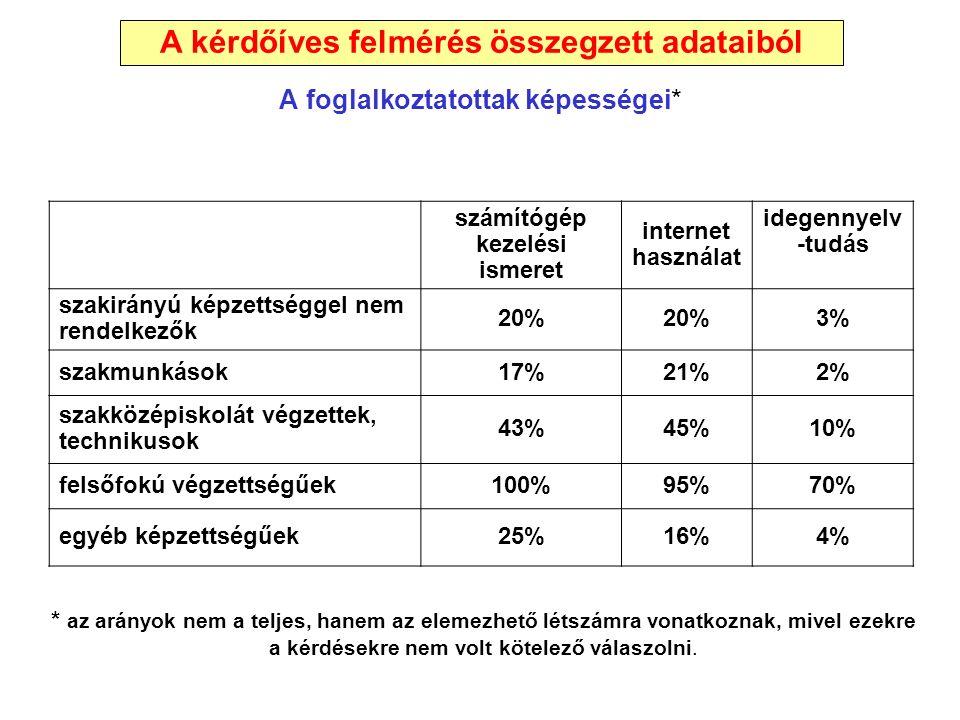 A foglalkoztatottak képességei* számítógép kezelési ismeret internet használat idegennyelv -tudás szakirányú képzettséggel nem rendelkezők 20% 3% szak