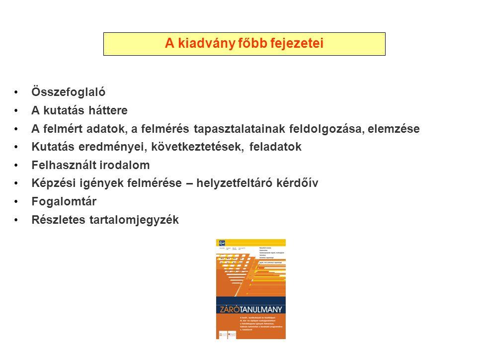 Összefoglaló A kutatás háttere A felmért adatok, a felmérés tapasztalatainak feldolgozása, elemzése Kutatás eredményei, következtetések, feladatok Felhasznált irodalom Képzési igények felmérése – helyzetfeltáró kérdőív Fogalomtár Részletes tartalomjegyzék A kiadvány főbb fejezetei