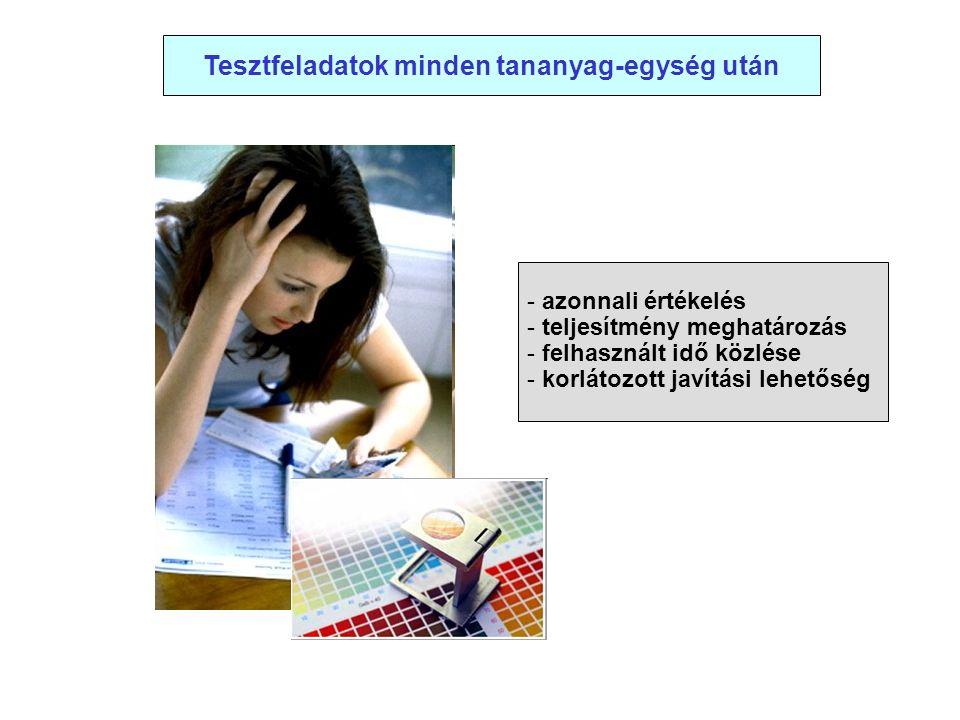 Tesztfeladatok minden tananyag-egység után - azonnali értékelés - teljesítmény meghatározás - felhasznált idő közlése - korlátozott javítási lehetőség