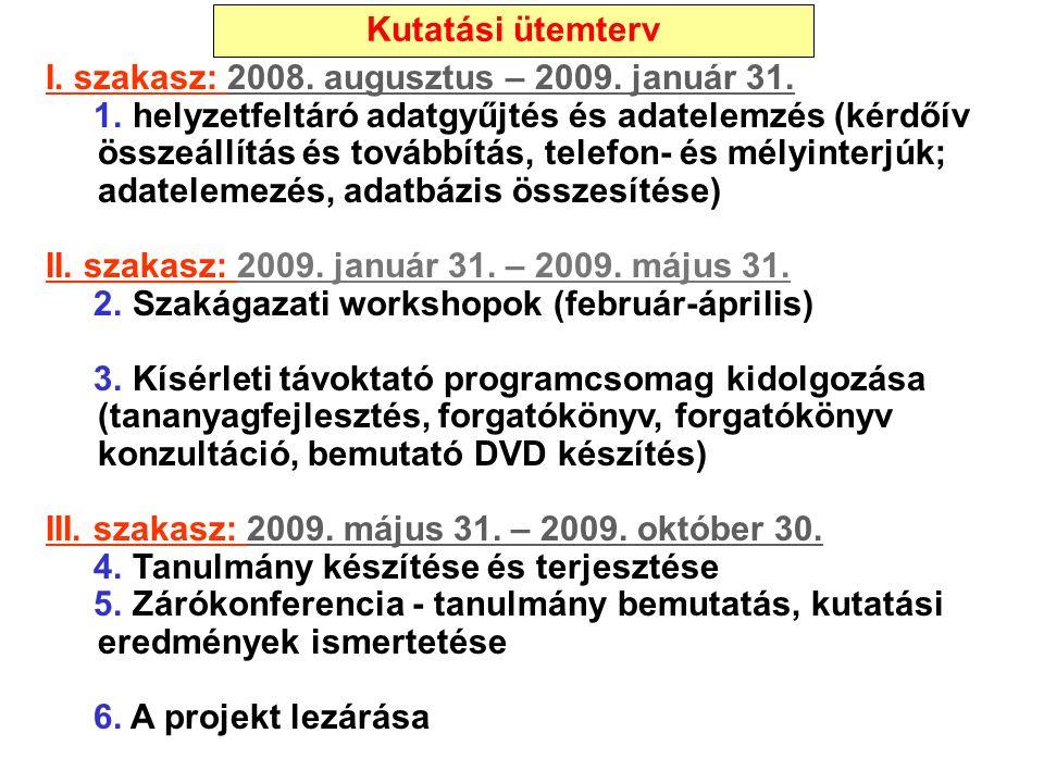 I. szakasz: 2008. augusztus – 2009. január 31. 1. helyzetfeltáró adatgyűjtés és adatelemzés (kérdőív összeállítás és továbbítás, telefon- és mélyinter