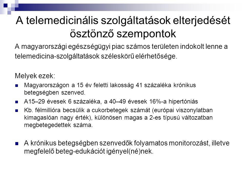 A telemedicinális szolgáltatások elterjedését ösztönző szempontok A magyarországi egészségügyi piac számos területen indokolt lenne a telemedicina-szolgáltatások széleskörű elérhetősége.