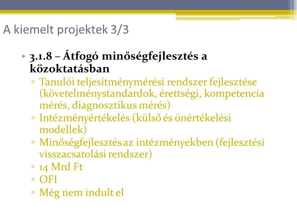 3.1.8 – Átfogó minőségfejlesztés a közoktatásban ▫ Tanulói teljesítménymérési rendszer fejlesztése (követelménystandardok, érettségi, kompetencia mérés, diagnosztikus mérés) ▫ Intézményértékelés (külső és önértékelési modellek) ▫ Minőségfejlesztés az intézményekben (fejlesztési visszacsatolási rendszer) ▫ 14 Mrd Ft ▫ OFI ▫ Még nem indult el A kiemelt projektek 3/3