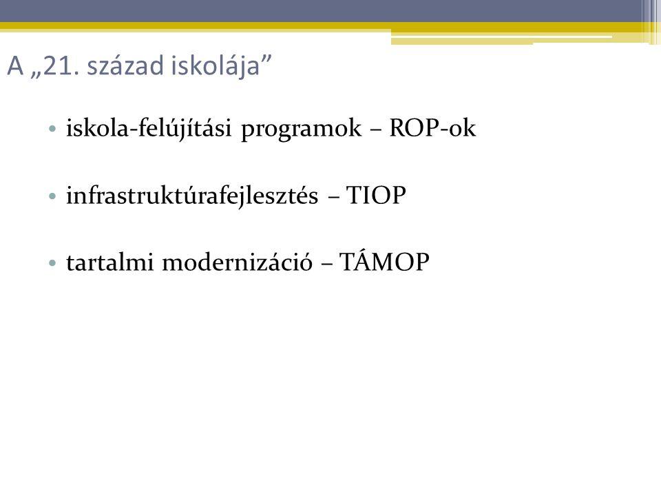 """iskola-felújítási programok – ROP-ok infrastruktúrafejlesztés – TIOP tartalmi modernizáció – TÁMOP A """"21."""
