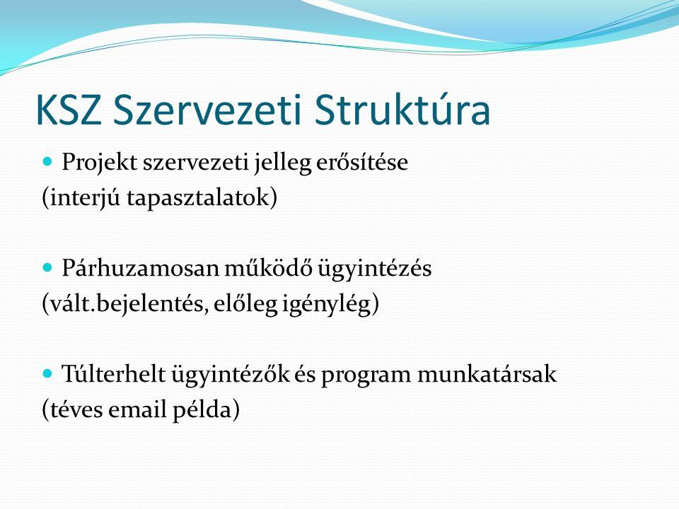 KSZ Szervezeti Struktúra Projekt szervezeti jelleg erősítése (interjú tapasztalatok) Párhuzamosan működő ügyintézés (vált.bejelentés, előleg igénylég) Túlterhelt ügyintézők és program munkatársak (téves email példa)