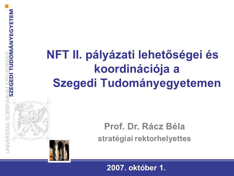 FELSŐOKTATÁSI INTÉZMÉNYEK ÁLTAL PÁLYÁZHATÓ OPERATÍV PROGRAMOK (2007-2013) Társadalmi Infrastruktúra Operatív Program (TIOP) Tartalma: a humán (oktatás-képzés, egészségügy, munkaerőpiaci és szociális szolgáltatások, kulturális) közszolgáltatások fizikai infrastrukturális feltételeinek fejlesztése Társadalmi Megújulás Operatív Program (TÁMOP) Tartalma: olyan beavatkozások megvalósítása, amelyek infrastruktúra hátterét a TIOP és a regionális operatív programok biztosítják (minőségi oktatás, emberi erőforrások fejlesztése az oktatás és kutatás területén, alkalmazkodó képesség javítása) Gazdaságfejlesztési Operatív Program (GOP) Tartalma: A kutatás-fejlesztési és innovációs kapacitás,aktivitás, illetve együttműködés növelése (Csak vállalkozások pályázhatnak!)