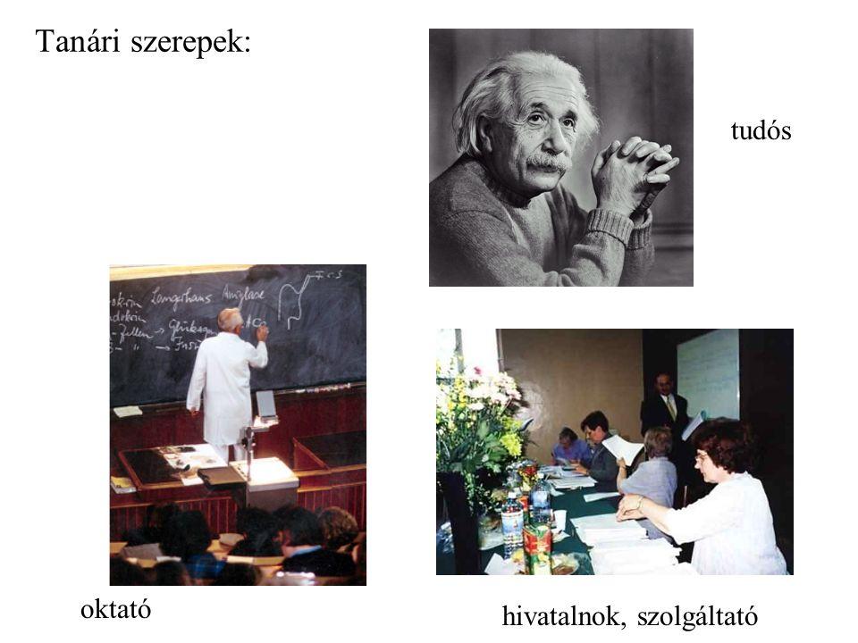 Tanári szerepek: oktató tudós hivatalnok, szolgáltató