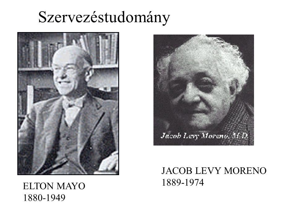 Szervezéstudomány ELTON MAYO 1880-1949 JACOB LEVY MORENO 1889-1974