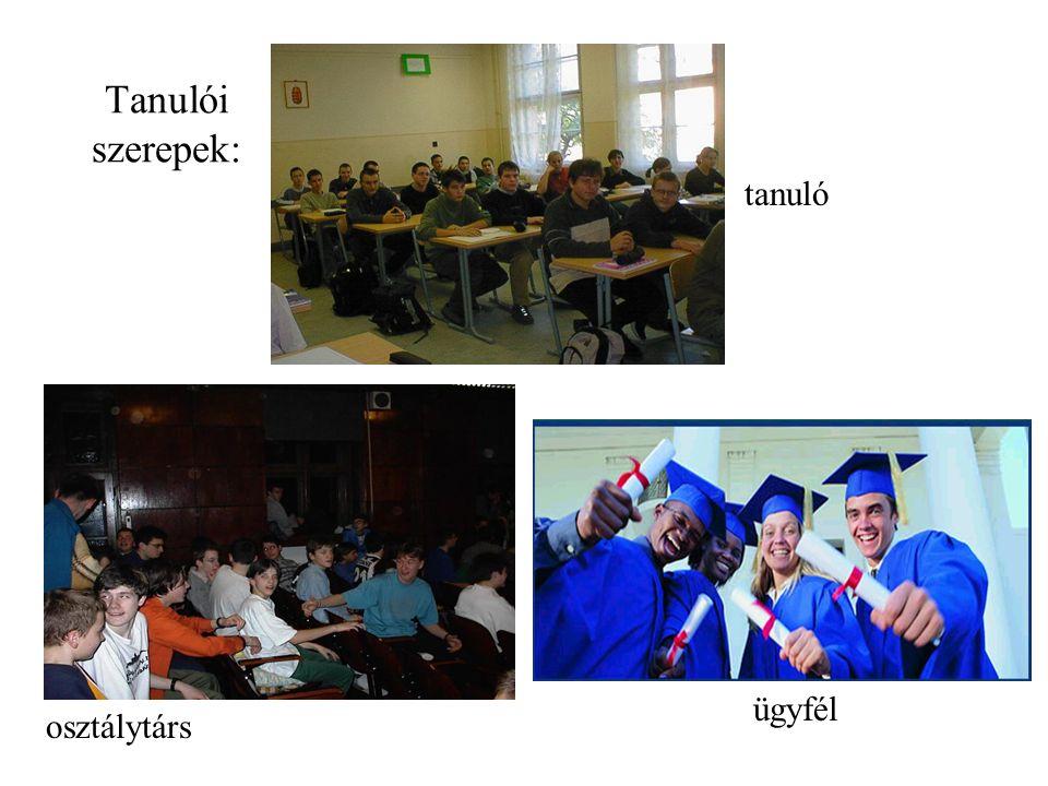 Tanulói szerepek: tanuló osztálytárs ügyfél