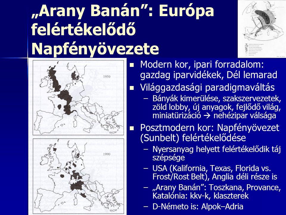 """""""Arany Banán : Európa felértékelődő Napfényövezete Modern kor, ipari forradalom: gazdag iparvidékek, Dél lemarad Világgazdasági paradigmaváltás – –Bányák kimerülése, szakszervezetek, zöld lobby, új anyagok, fejlődő világ, miniatürizáció  nehézipar válsága Posztmodern kor: Napfényövezet (Sunbelt) felértékelődése – –Nyersanyag helyett felértékelődik táj szépsége – –USA (Kalifornia, Texas, Florida vs."""