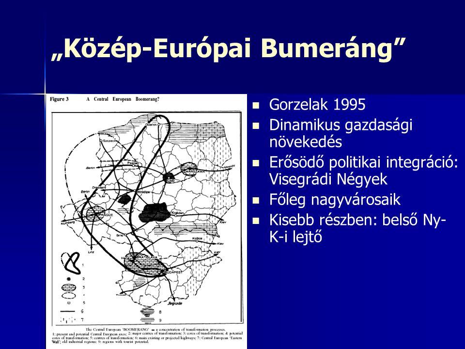 """""""Közép-Európai Bumeráng Gorzelak 1995 Dinamikus gazdasági növekedés Erősödő politikai integráció: Visegrádi Négyek Főleg nagyvárosaik Kisebb részben: belső Ny- K-i lejtő"""