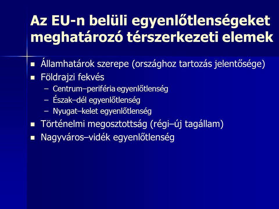 Az EU-n belüli egyenlőtlenségeket meghatározó térszerkezeti elemek Államhatárok szerepe (országhoz tartozás jelentősége) Földrajzi fekvés – –Centrum–p