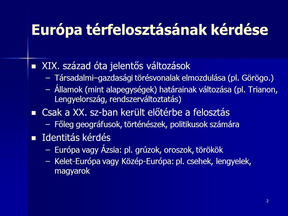 Városok, mint a tér kitüntetett pontjai Kunzmann 1991: Európai szőlő – –Találó: szőlőszemek a régiók, magok a nagyvárosok Goddard 1995 – –Európa térképe sokkal inkább egy gyümölcs- salátás tálra hasonlít mint egy banánra Van der Meer 1998: Vörös Polip – –Európa 2046-ra – –Zónák és centrumok