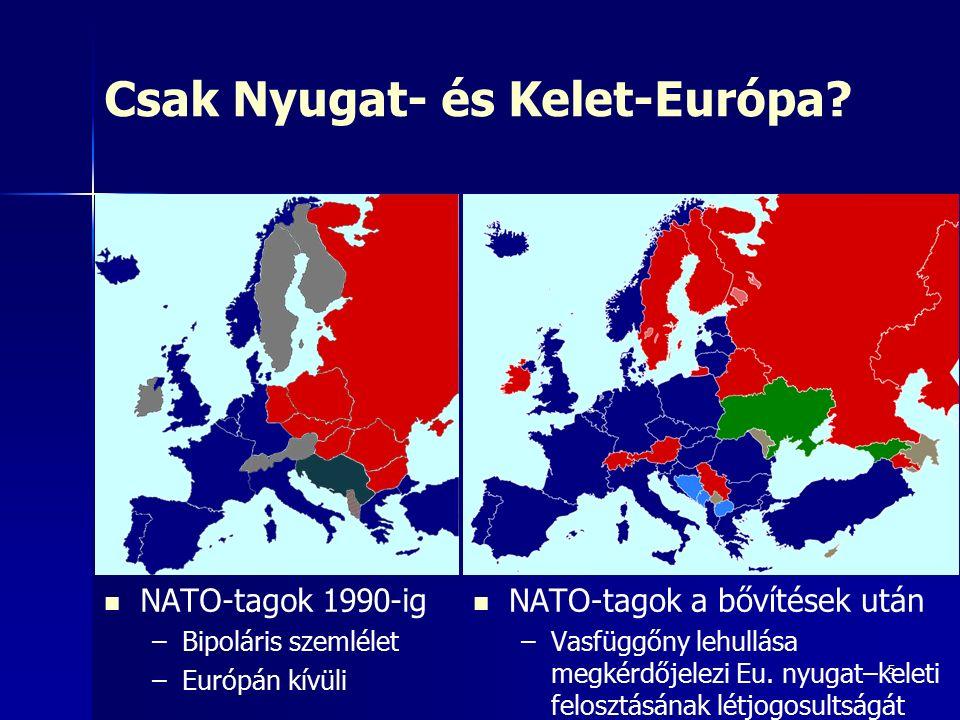 5 Csak Nyugat- és Kelet-Európa? NATO-tagok 1990-ig – –Bipoláris szemlélet – –Európán kívüli NATO-tagok a bővítések után – –Vasfüggőny lehullása megkér
