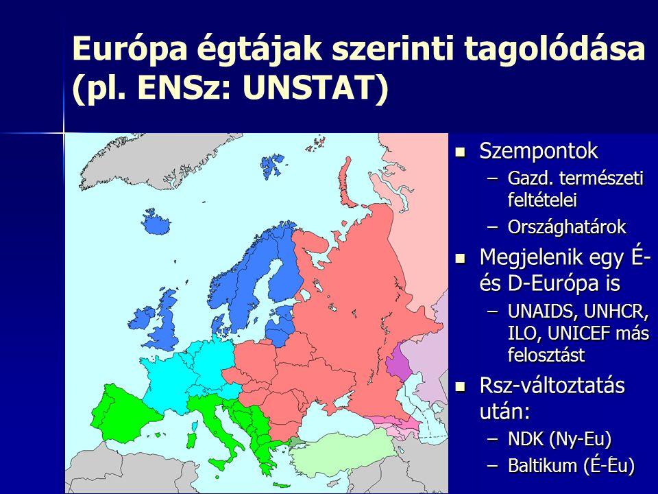 6 Európa égtájak szerinti tagolódása (pl. ENSz: UNSTAT) Szempontok Szempontok –Gazd. természeti feltételei –Országhatárok Megjelenik egy É- és D-Európ