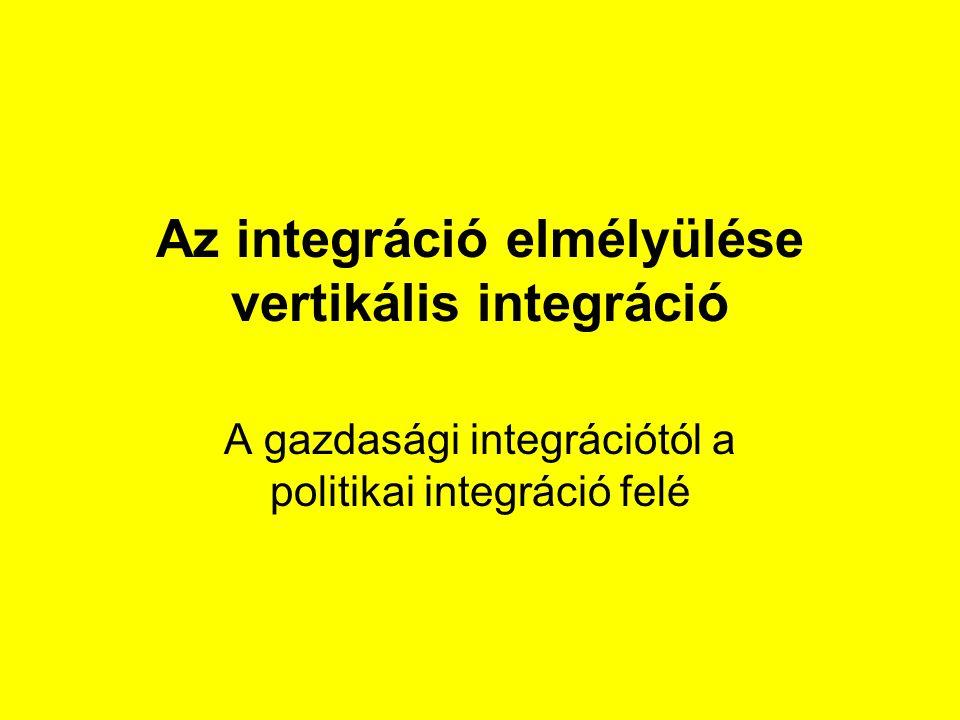Az integráció elmélyülése vertikális integráció A gazdasági integrációtól a politikai integráció felé