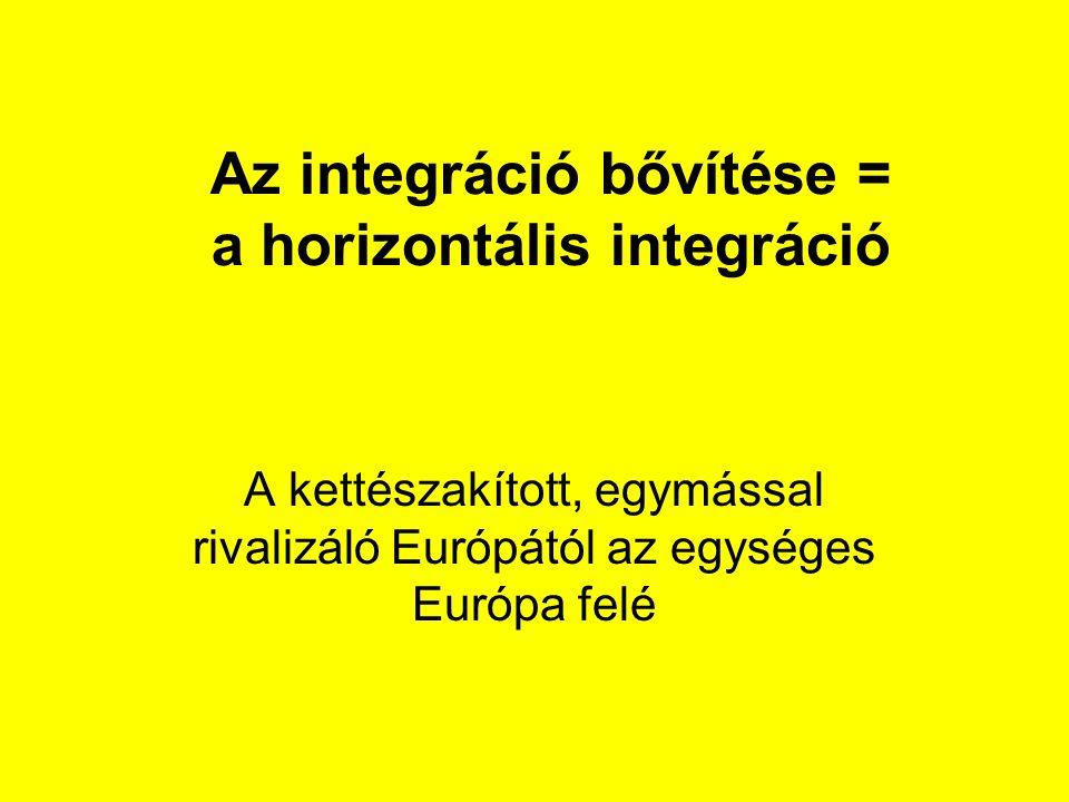 Az integráció bővítése = a horizontális integráció A kettészakított, egymással rivalizáló Európától az egységes Európa felé
