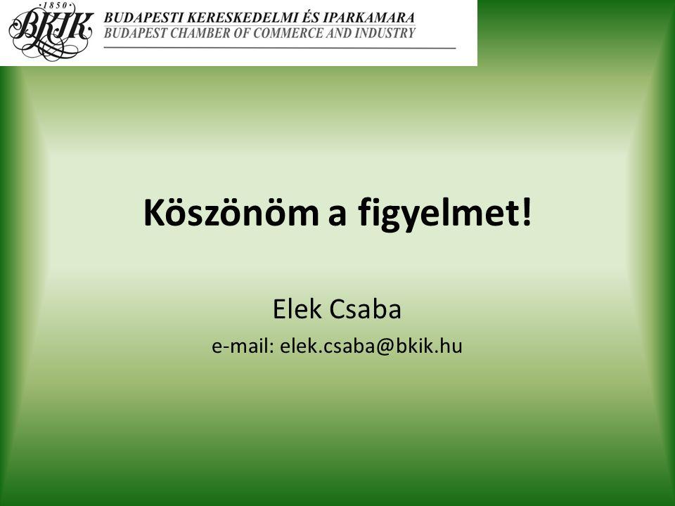 Köszönöm a figyelmet! Elek Csaba e-mail: elek.csaba@bkik.hu