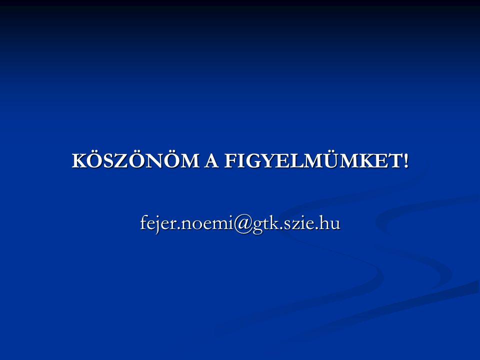 KÖSZÖNÖM A FIGYELMÜMKET! fejer.noemi@gtk.szie.hu