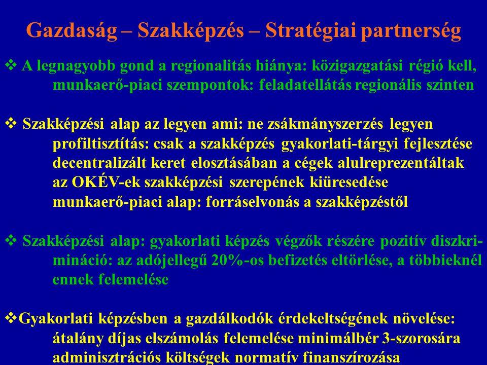 Gazdaság – Szakképzés – Stratégiai partnerség  A legnagyobb gond a regionalitás hiánya: közigazgatási régió kell, munkaerő-piaci szempontok: feladate