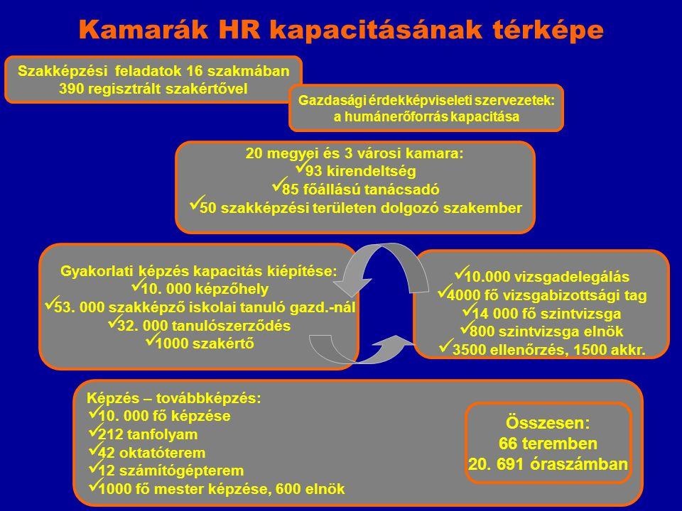 Szakképzési feladatok 16 szakmában 390 regisztrált szakértővel Kamarák HR kapacitásának térképe 20 megyei és 3 városi kamara: 93 kirendeltség 85 főállású tanácsadó 50 szakképzési területen dolgozó szakember Gyakorlati képzés kapacitás kiépítése: 10.