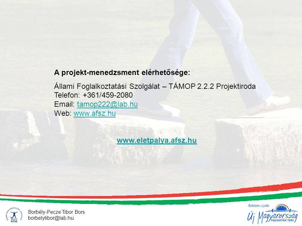 A projekt-menedzsment elérhetősége: Állami Foglalkoztatási Szolgálat – TÁMOP 2.2.2 Projektiroda Telefon: +361/459-2080 Email: tamop222@lab.hu Web: www.afsz.hutamop222@lab.huwww.afsz.hu www.eletpalya.afsz.hu